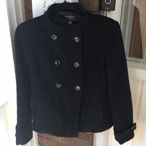 Ann Taylor Black Cropped Wool Coat